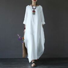 Cotton Linen Plus Size Dresses For Women 3xl 4xl 5xl Loose Maxi Dress White Red