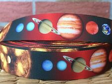 "3 or 5 yards 1"" SOLAR SYSTEM grosgrain ribbon- FLAT RATE SHIPPING"