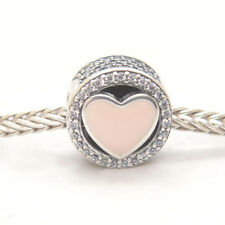 Genuine Authentic S925 Sterling Silver Wonderful Love Heart w/CZ & Pink Charm