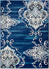 NEW (CH#204) MODERN BLUE- DAMASK AREA RUG; APRX SIZES: 2X3, 2X7, 4X5, 5X7 & 8X11