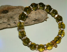 10mm OLIVE GREEN AMBER GEMSTONE BEADED GOLD STRETCH CHARM BRACELETS MIXED SIZES