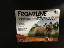 FRONTLINE PLUS  FOR DOGS FLEA & TICK CONTROL DOGS 5-22 LBS 6 PACK
