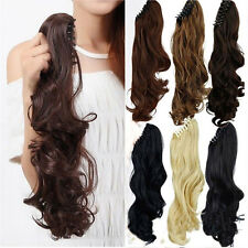 Long real natural as human hair Claw Ponytail Hair Extension Clip in Straight US