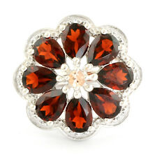Garnet 6.25 Ct  White Topaz Natural Gemstone Ring In 925 Sterling Silver Jewelry