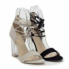 New Women's Lace Up Ankle Strappy Gladiator Clear Lucite Heels Sandals Shoes
