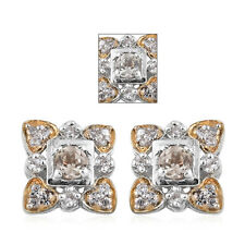 Turkizite, White Zircon 14K YG and Platinum Over Sterling Silver Stud Earrings T