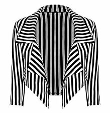 Ladies Womens Casual Black And White Striped Waterfall Full Sleeve Blazer Jacket