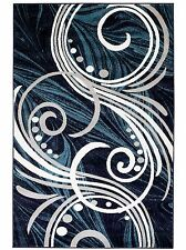 NEW AREA RUG (#61) NAVY BLUE SWIRLS-APRX SIZES: 2'X3' 2'X7' 4'X5' 5'X7' & 8'X11'