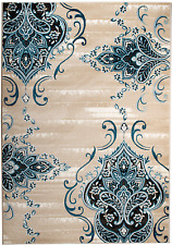 NEW (CH#202) MODERN BLUE- DAMASK AREA RUG; APRX SIZES: 2X3, 2X7, 4X5, 5X7 & 8X11