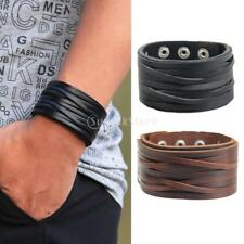 Vintage Wide Leather Alloy Buckle Bracelet Bangle Punk Cuff Women Casual Jewelry