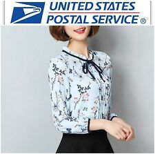 New Blue Floral Chiffon Pleated Long Sleeve Ruffle Neck Blouse Top XS S M
