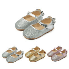 Girl Baby Toddler Princess Bowknots Shoes Glitter Party Dress Flat Slip On Shoes