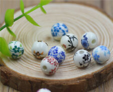 4/20pcs 10mm Blue And White Porcelain Ceramic Round Loose Beads Jewelry Making