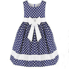 NWT Girl Dress Blue and White Dot Butterfly Party Pageant Children Clothes 4-12Y