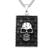 Skeleton Skull Tag Pendant Necklace Chain Gothic Punk Statement Rock Letter