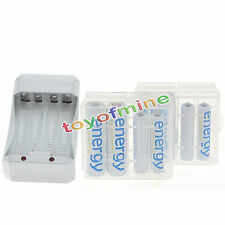 4x4 AA 3300 AAA 2000 Ni-Mh White Energy Rechargeable Battery+Charger+2xCase