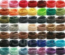 DIY 3mm Flat Leather Lace Cord Thong Jewelry Crafts Faux Suede 49Clrs 20-90yd