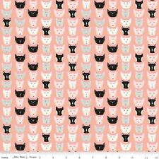 Riley Blake Fabric - Meow Faces C6563 Pink by Marcia Cornell - Quilting, Cat