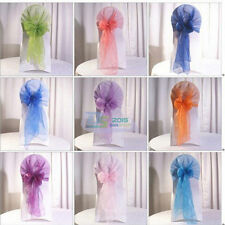 10pcs Colors Organza Chair Sashes Bow Cover Wedding Party Banquet Decoration