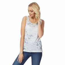 The Collection Womens White And Blue Floral Striped Vest Top From Debenhams