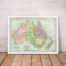 Old Australia & New Zealand Map - Classic Vintage Map Print Poster - Framed