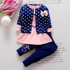 Kids Wave Point Clothing Set Baby Girls Cute Cotton Clothes Suit