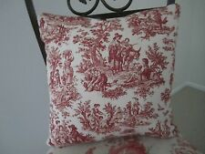 Gorgeous Waverly Pillow Red & Ivory Country Rustic Life French Toile Pastoral