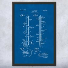 Framed Earth Auger Patent Print Gift Auger Print, Heavy Machinery, Contractor