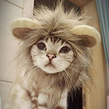 Furry Pet Dog Cat Hat Costume Lion Mane Wig For Cat Halloween Dress Up With Ears
