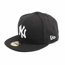 New Era MLB Basic New York Yankees Fitted Cap Hat, Colour Black/White, 90913
