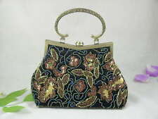 Black Beaded Sequined Florals Party Or Casual Big Handbag Purse Lots Available