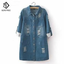 New Fashion Spring Autumn women long sleeve Roll Up jeans Coat female casual Rip