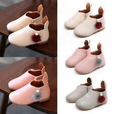 Cute Kid Girl Zipper PU Leather Casual Ankle Boots Flats Shoes Rabbits Ear Shoes