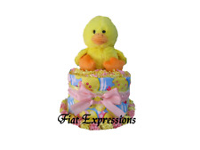 Duck Girl Mini Diaper Cake Baby Shower Gift & Centerpiece