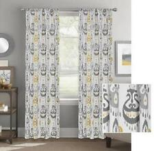 Set of 2 Gray Gold White Modern Geometric Abstract Global Curtains Panels Drapes