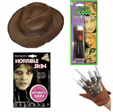 Halloween 4pc Make Up and Props Freddy Set Claw Hat Blood Decay Flesh Freddie