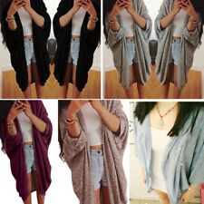 Women Super Loose Knitted Sweater Coat Bat Long Sleeve Cardigan Shirt Jacket