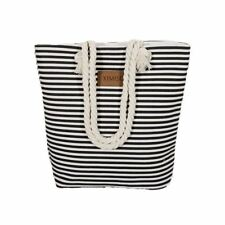 Casual Canvas Shopper Shoulder Bag Striped Beach Bags Large Capacity Tote