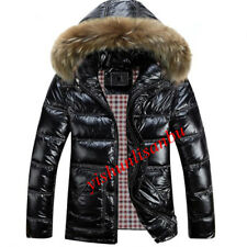 M-8XL Mens Winter Puff Down Coat Real Fur Collar Hooded Jacket Warm Thick Jacket