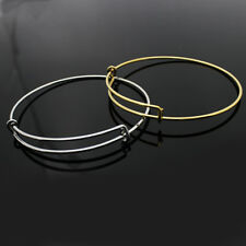 Bangle Bracelets for Charms, Stainless Steel & Gold Plate, Large & Medium Size