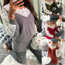 Fashion Womens Ladies Casual Long Sleeve Pullover Top Lace T-Shirt Tops Blouse