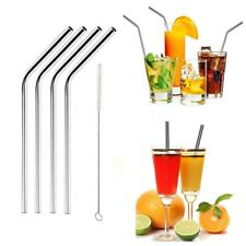 4Pcs Stainless Steel Metal Drinking Straw Reusable Straws + Cleaner Brush Kit