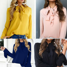 Women Bow Tie V-Neck Long Flare Sleeve Chiffon T-Shirt Loose Solid Tops Blouse