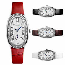 Rhinestone Bezel Roman Numerals Dial Quartz Women Watches Leather Strap Watch