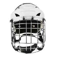 New White Ice Hockey Helmet Cage Combo Steel Face Mask Adjustable Head Size