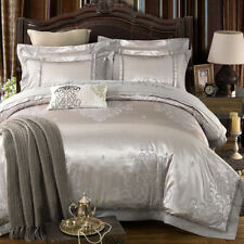 Luxury Silver Jacquard Duvet Cover 4Pcs Set Pillow Cases Sheets Comforter Cover