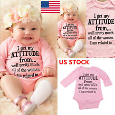 US Kids Girls Long Sleeve Casual Bodysuit Baby Clothes Letter Printed Outfits