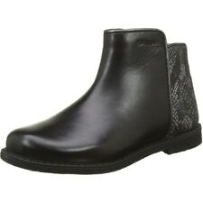 Geox J Shawntel D Black Leather Youth Boots