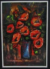 ACEO Original art card Poppies abstract flowers matted gift artist signed