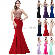 Women Long Lace Bridesmaid Formal Gowns Ball Party Cocktail Evening Prom Dresses